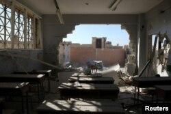 ຫ້ອງຮຽນທີ່ໄດ້ຮັບຄວາມເສຍຫາຍ ທີ່ເມືອງ Hass ແຂວງ Idlib.