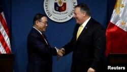 蓬佩奥与菲律宾外长洛钦2019年3月1日共同见记者