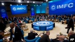 國際貨幣基金組織(IMF)與世界銀行4月13日在華盛頓舉行會議資料照。