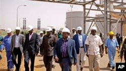 Members of a high level government delegation from Juba visit oil fields of Paloich, South Sudan, Feb. 21, 2012.