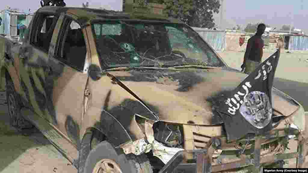 Abandoned Boko Haram vehicle after an attack on Dikwa, Borno State, Nigeria, February 24, 2016.
