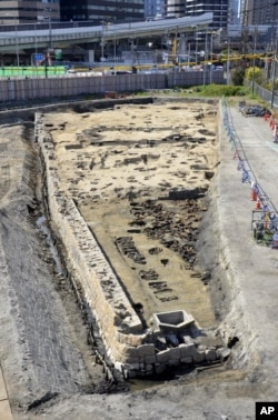"This undated photo provided Wednesday, Aug. 26, 2020, by Osaka City Cultural Properties Association shows the ""Umeda Grave"" burial site in Osaka, western Japan. (Osaka City Cultural Properties Association via AP)"