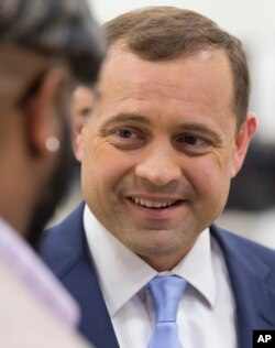 Tom Perriello speaks to supporters after a Virginia gubernatorial debate in 2017. Perriello ran for the Democratic nomination but lost to then-Lieutenant Governor Ralph Northam. He later stepped into a senior leadership position with the Open Society Foundations.