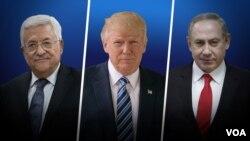 "Dari kiri: Presiden Palestina Mahmoud Abbas, Presiden AS Donald Trump, dan PM Israel Benyamin Netanyahu (foto: ilustrasi). Palestina masih menunggu ""visi yang jelas"" dari AS mengenai kelanjutan dari perundingan perdamaian dengan Israel."