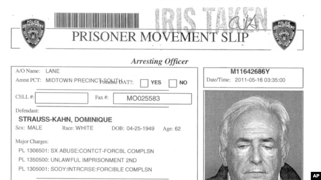 An NYPD prisoner movement slip for former IMF chief Dominique Strauss-Kahn