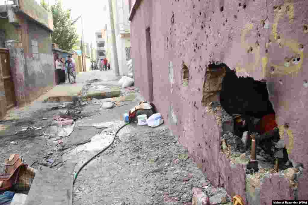 The town of Cizre in southteastern Turkey after weeklong curfew lifted