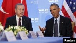 عکس آرشیوی از دیدار باراک اوباما و رجب طیب اردوغان در اجلاس ناتو - ۵ سپتامبر ۲۰۱۴