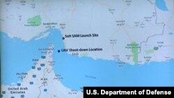 Карта, представленная на пресс-конференции министерства обороны США об инциденте с беспилотником США