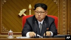 FILE - North Korean leader Kim Jong Un listens during the party congress in Pyongyang, North Korea.