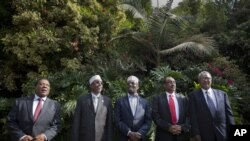Left to right: UN Special Representative for Somalia Mahiga, Somali Parliament Speaker Aden, Somali President Ahmed, Somali PM Ali, Puntland President Farole in Nairobi, Kenya, June 22, 2012.