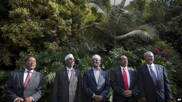 Left to right: UN Special Representative for Somalia Mahiga, Somali Parliament Speaker Aden, Somali President Ahmed, Somali PM Ali, Puntland President Farole in Nairobi, Kenya, June 22, 2012.