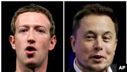 Foto gabungan CEO Facebook, Mark Zuckerberg (kiri), dan CEO Tesla dan SpaceX, Elon Musk. (foto: AP Photo/Manu Fernandez, Stephan Savoia)