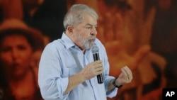 El ex presidente de Brasil, Luiz Inácio Lula da Silva habla en una reunión de directivos de su Partido de los Trabajadores en Sao Paulo. Enero 25 de 2018.