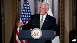 El vicepresidente de EE.UU., Mike Pence, abogó por suspender a Venezuela de la OEA durante una recepción en Washington el lunes, 4 de junio de 2018.
