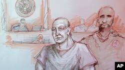 Hình phác họa ông Cesar Sayoc (trái) tại tòa.