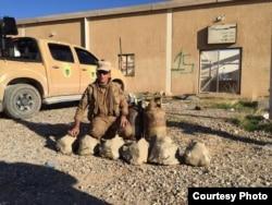Jamal Syare, a Kurdish commander, shows detonated IS homemade stone-shaped bombs and propane tank bombs in Khazir, north of Mosul. (Photo courtesy of Jamal Syare)