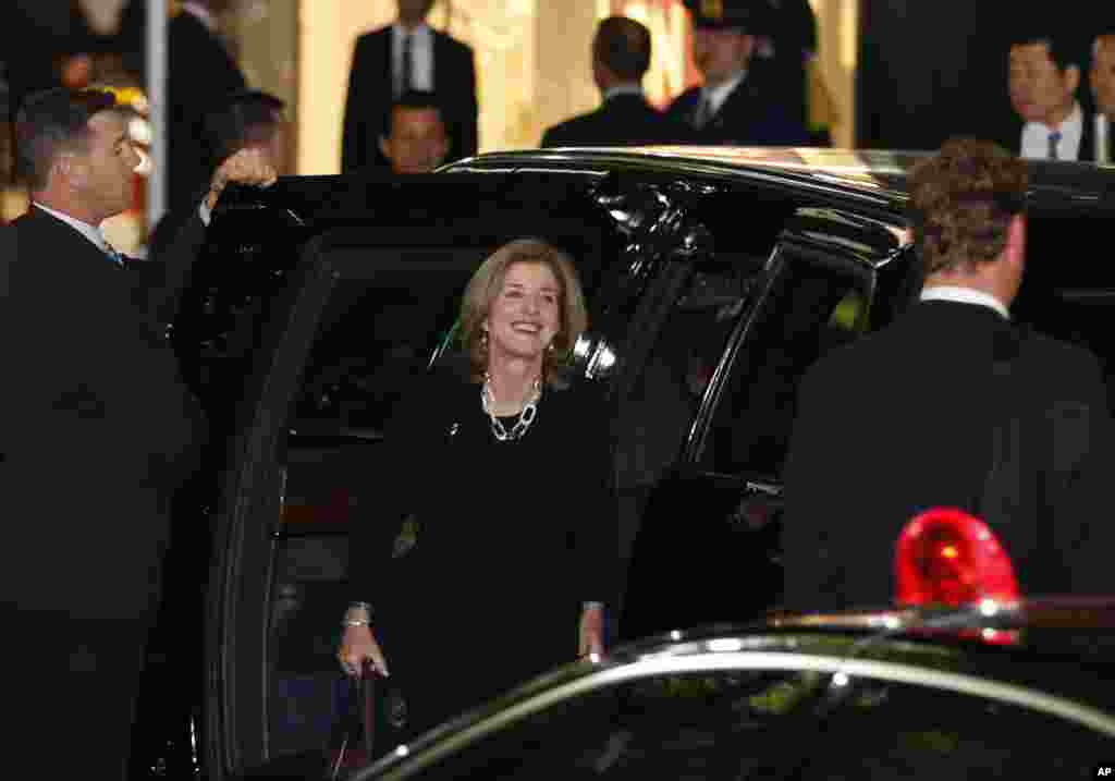 U.S. ambassador to Japan Caroline Kennedy arrives with President Barack Obama at Sukiyabashi Jiro sushi restaurant for a dinner with Japanese Prime Minister Shinzo Abe in Tokyo, April 23, 2014.