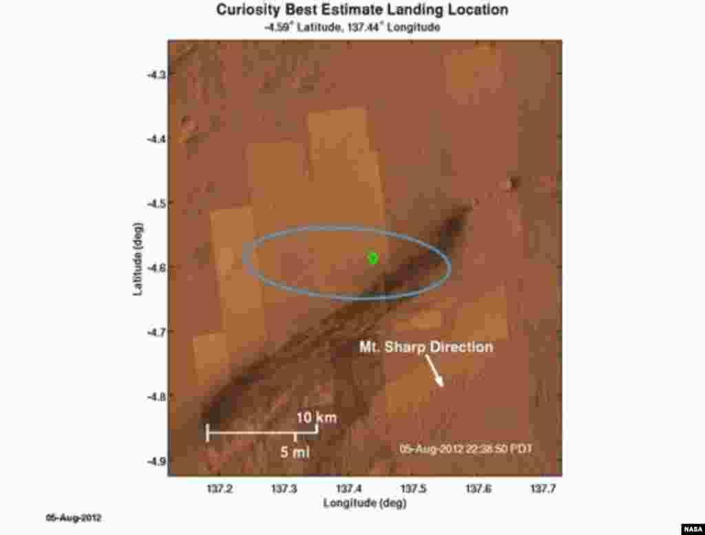 El punto verde que aparece en esta imagen señala el lugar donde el Curiosity aterrizó en Marte.