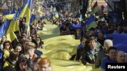 Демонстрация в Одессе против аннексии Крыма. Украина. 30 марта 2014 г.