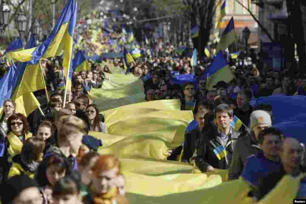 Демонстрация в Одессе против аннексии Крыма