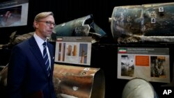 Brian Hook, U.S. special representative for Iran, walks past fragments of Iranian short range ballistic missiles (Qiam) at the Iranian Materiel Display (IMD) at Joint Base Anacostia-Bolling, in Washington, Nov. 29, 2018.