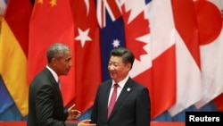 Chinese President Xi Jinping and U.S. President Barack Obama attend the G20 Summit in Hangzhou, Zhejiang province, Sept. 4, 2016.