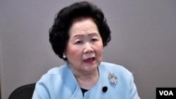 香港前政务司司長陳方安生。(美国之音湯惠芸摄)