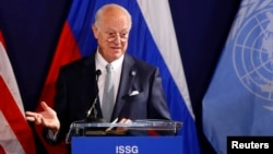FILE - United Nations special envoy on Syria Staffan de Mistura speaks during a news conference in Vienna, Austria, May 17, 2016. De Mistura is hoping to restart intra-Syrian talks in July.