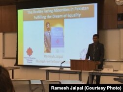 Ramesh Jaipal gives a presentation at the American University, where he studied law and human rights as a fellow in the prestigious Hubert Humphrey Fellowship program.