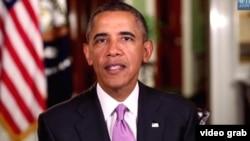 奥巴马总统发表每周例行讲话。(视频截图)