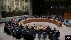 شام میں مبینہ کیمیائی حملے پر ہونے والے سلامتی کونسل کے اجلاس کا منظر