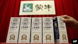 资料照:中国蒙牛乳业生产的奶制品。