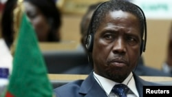 FILE - Zambia President Edgar Lungu attends the opening ceremony of the 24th Ordinary session of the Assembly of Heads of State and Government of the African Union (AU) at the African Union headquarters in Ethiopia's capital Addis Ababa, Jan. 30, 2015.