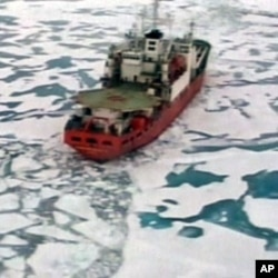 The Russian research vessel the Akademik Fyodorov with miniature submarines on board sails in the Arctic Ocean in this Reuters Television image (File)