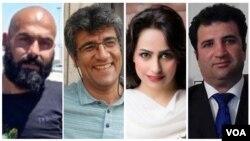 از راست: محمد نجفی، سهیلا حجاب، نصرالله لشنی، و خالد پیرزاده