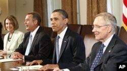 美國總統奧巴馬與國會領袖就債務協議舉行會談。