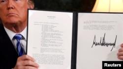 美國總統川普5月9日星期三白宮簽署退出伊朗核協議。