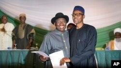Goodluck Jonathan et Muhammadu Buhari, 26 mars 2015.