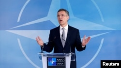 FILE - NATO Secretary General Jens Stoltenberg speaks after a NATO-Russia Council meeting at the alliance's headquarters in Brussels, Belgium, April 20, 2016.