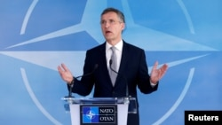 NATO Secretary General Jens Stoltenberg speaks after a NATO-Russia Council at the Alliance's headquarters in Brussels, Belgium, April 20, 2016.