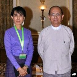 缅甸反对派领袖昂山素季与总统登盛会面
