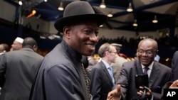 Shugaban Najeriya Goodluck Jonathan, Dandalin tattalin Arzikin Duniya (WEF) da Abuja, Mayu 8, 2014.