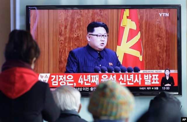 South Koreans watch a TV airing North Korean leader Kim Jong Un's New Year speech, at the Seoul Railway Station in Seoul, South Korea, on Jan. 1, 2016.