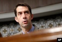 FILE - Senate Armed Services Committee member Tom Cotton, R-Ark., is seen during a hearing on Capitol Hill in Washington, July 11, 2017. Cotton is reportedly under consideration to replace Mike Pompeo as CIA chief, if Pompeo takes the helm at the State Department.