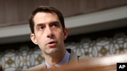 FILE - Senate Armed Services Committee member Sen. Tom Cotton, R-Ark. on Capitol Hill in Washington, July 11, 2017.