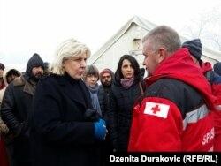 Dunja Mijatović u posjeti kampu Vučjak, 3. decembar 2019.