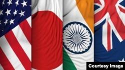 四方安全對話機制(Quad)成員國國旗:美國、日本、印度和澳大利亞。(Courtesy Image)