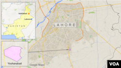Map of Lahore, Pakistan, showing the suburb of Youhanabad