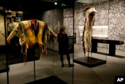 "Plains Indian objects on display in the Battle of Little Bighorn gallery of the ""Americans"" exhibition at Smithsonian's National Museum of the American Indian on Thursday, Jan. 11, 2018"