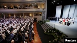 싱가포르 국립대학에서 29일 리콴유 전 총리 장례식이 거행되고 있다.